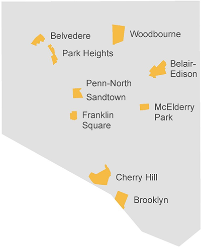 Map of Baltimore showing locations listed for community sites